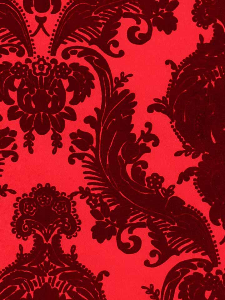Velvet Flocked Wallpaper Red Red Wine Pinterest