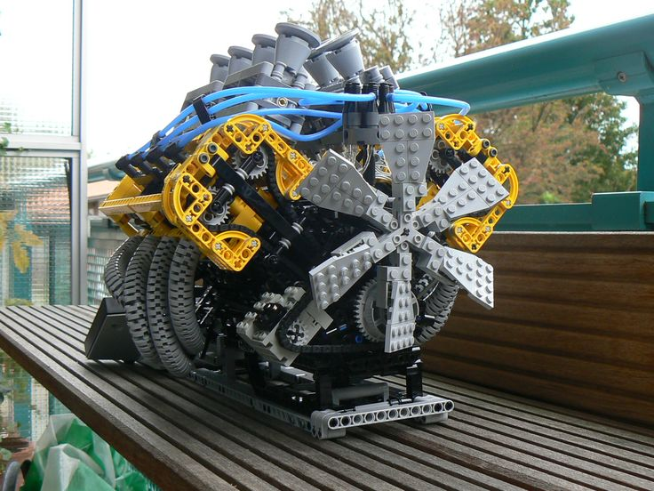 A working V8 made out of legos