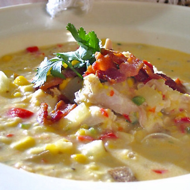 Roasted Corn Chowder Recipe With Chicken, Lime And Cilantro Recipes ...