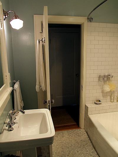 Bathroom Floor Bowing : Subway tile flooring bow shower rod bathroom reno