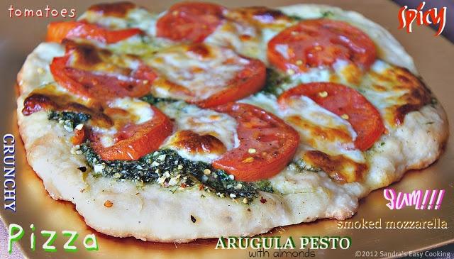 ... Easy Cooking: Vegetarian Pizza with Smoked Mozzarella & Arugula Pesto