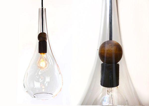 Blown Glass Wood Teardrop Pendant Light Brushed Nickel