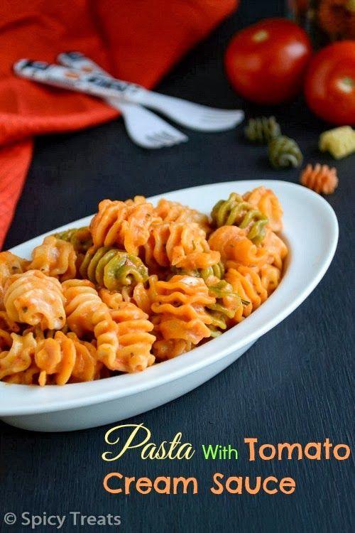 ... Pasta With Tomato Cream Sauce / Tri Colour Pasta With Tomato Cream