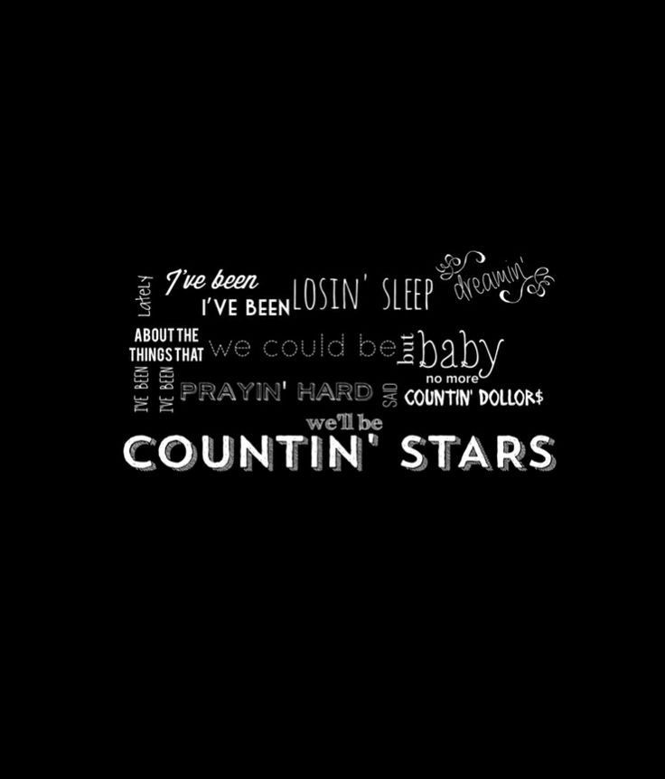 analysis of song lyrics counting stars Counting stars is a song by american pop rock band onerepublic from their i didn't like the verses or lyrics instead of counting sheep, we're counting stars.
