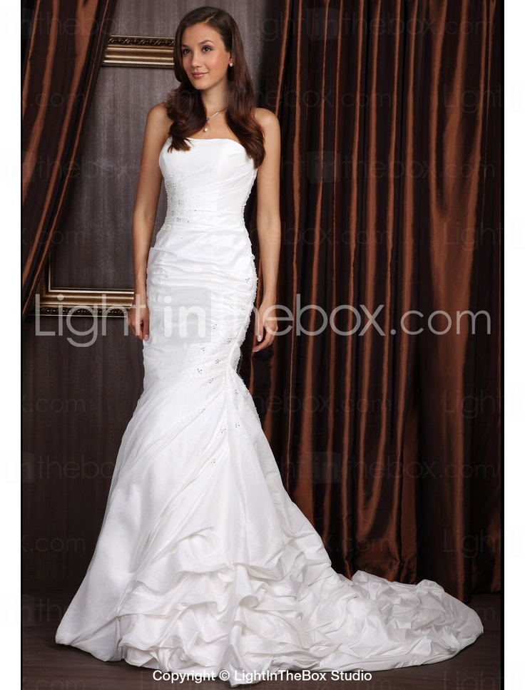 Trumpet Bottom Wedding Dresses : Trumpet mermaid strapless court train taffeta wedding dress us