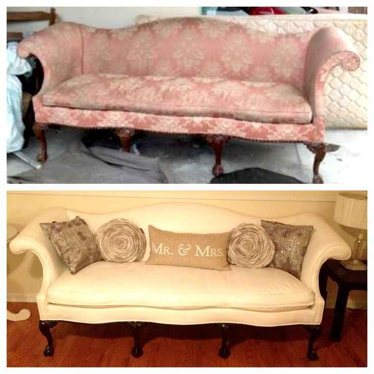 Vintage couch before and after... Furniture reupholster