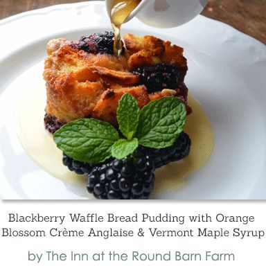 Blackberry Waffle Bread Pudding with Orange Blossom Crème Anglaise ...