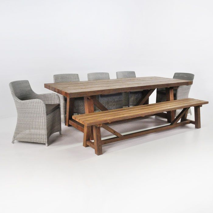 old mixes perfectly together in this set of an Outdoor Trestle Table ...