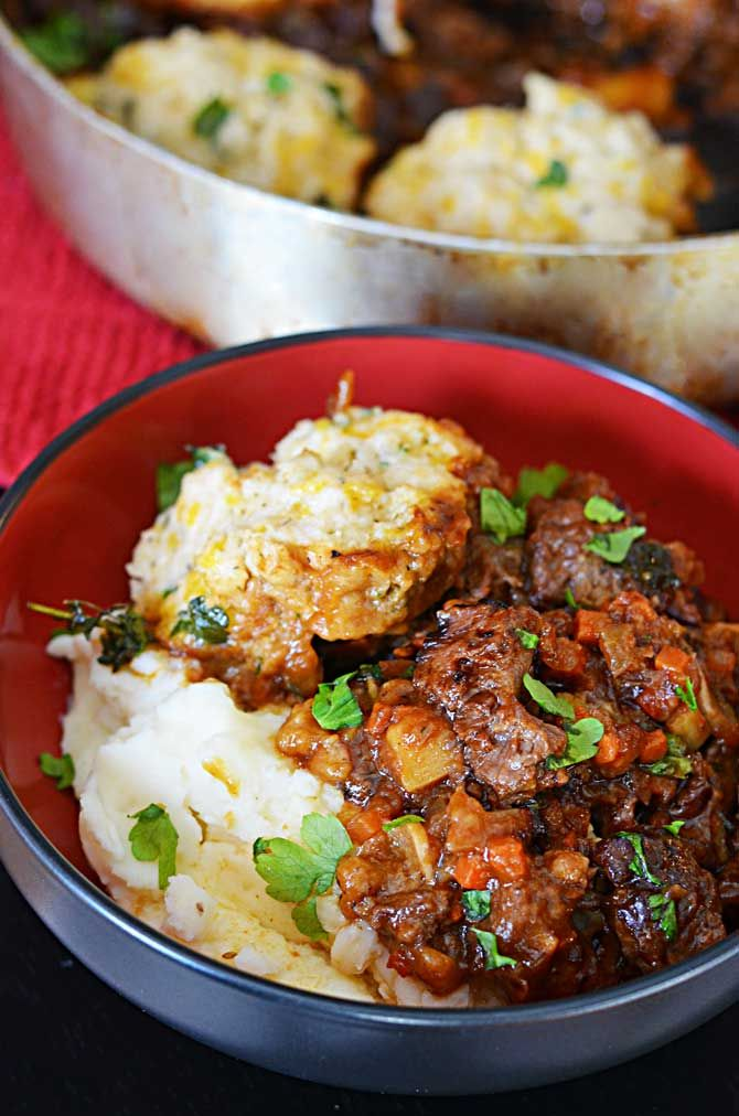 Guinness Beef Stew with Cheddar Herb Dumplings | Recipe