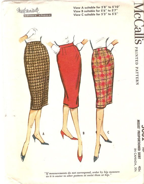 1950s slim pencil skirt pattern sew busy