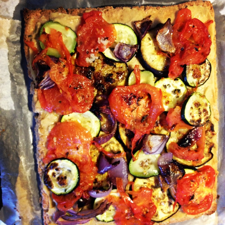 Grilled vegetable and hummus tart | Hoummus/vegetables | Pinterest