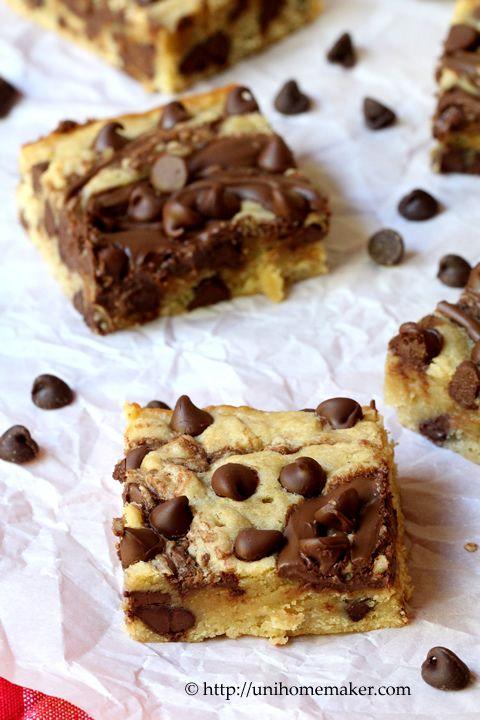 Nutella Swirl Chocolate Chip Blondies | Yummy candy, treats, cookies ...