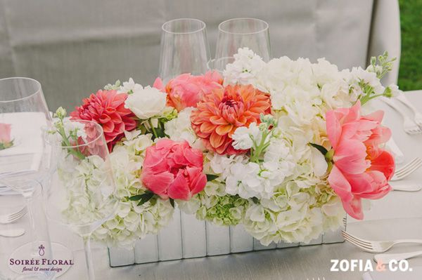 Susan coral and white centerpiece more wedding ideas