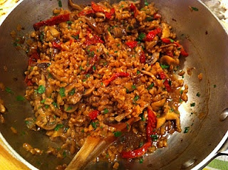 Farro with Mushrooms and Sun Dried Tomatoes