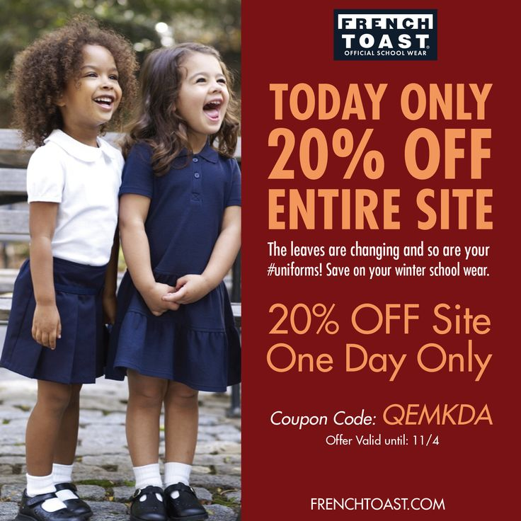 ... school wear. Offer: 20% off site One Day Only Coupon Code: QEMKDA