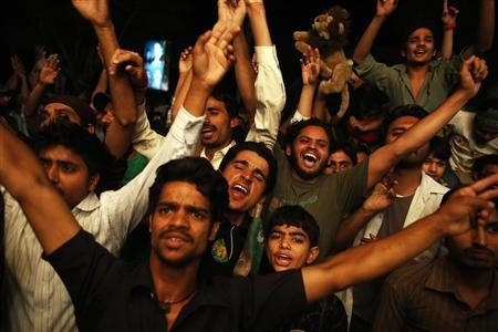 as results of the general election come in, in Lahore May 11, 2013 ...