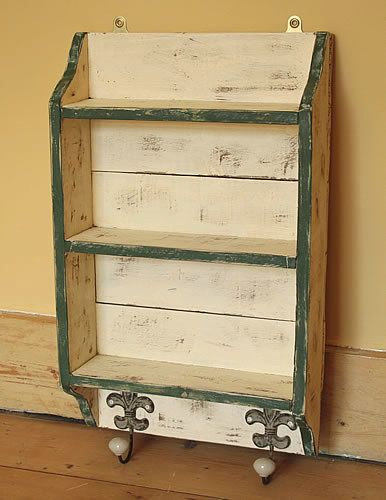 wall shelves with hooks shabby chic. Black Bedroom Furniture Sets. Home Design Ideas