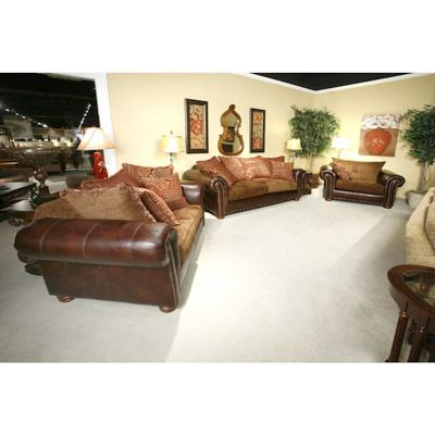 October Chocolate Leather Living Room Set: Sofa, Loveseat and Chair
