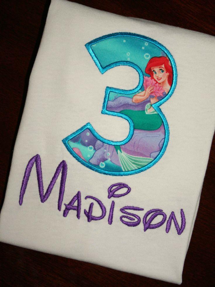 Little mermaid birthday shirt monogrammed by pinkprincesscouture 20