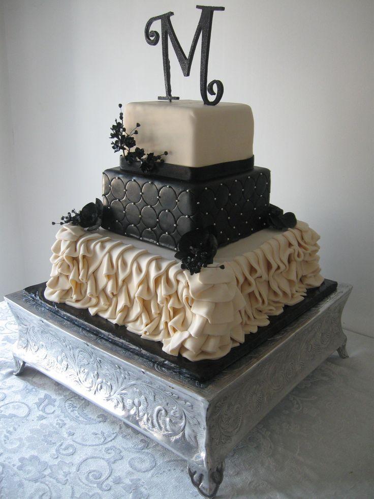 Square Wedding Cake With Fondant Ruffles