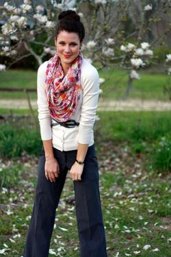 Floral scarf, sailor pants, belted cardigan. Perfect comfy chic outfit. :)