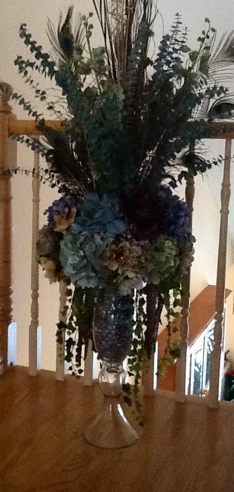 Upper foyer floral arrangement florals pinterest for Foyer flower arrangement