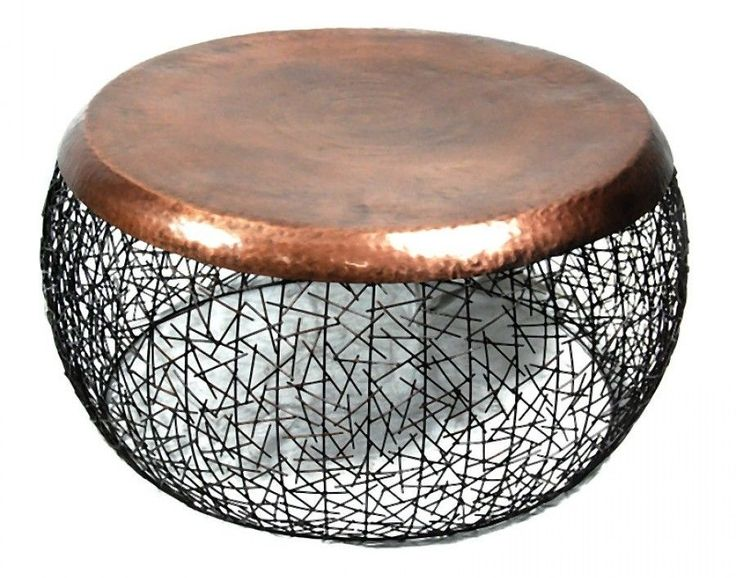 Round Metal Copper Drum Coffee Table