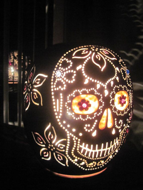 Handcarved day of the dead sugar skull table lamp fuck