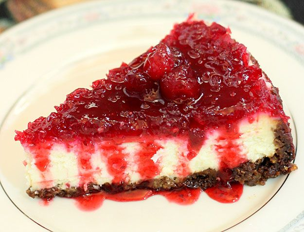 cranberry cheesecake with gingersnap and cranberry crust -- I added ...