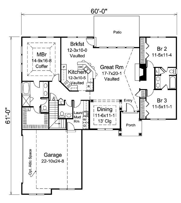 Country Ranch Traditional House Plan 95904