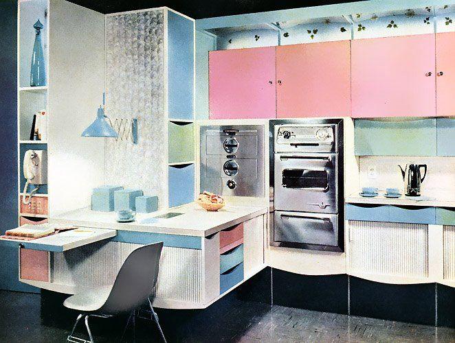 Pastel 1950's kitchen  Kitchens  Pinterest
