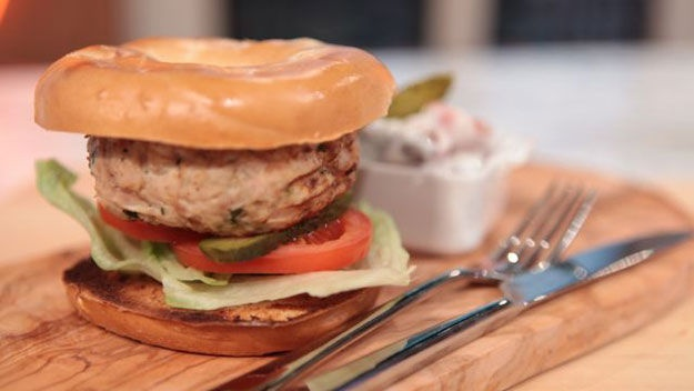 Turkey Bagel Burgers Recipe — Dishmaps