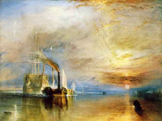 """Who painted """"The Fighting Temeraire""""?   Pierre-Auguste Renoir,  Henri Rousseau,  Alfred Sisley or  J.M.W. Turner.    You can check your answer here: http://freerice.com/#/famous-paintings/502?utm_source=pinterest.com_medium=pin_campaign=fr_question_a_day"""