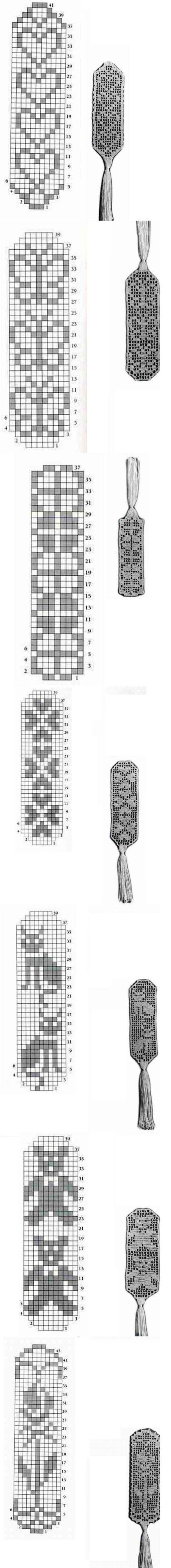 filet crochet - lovely bookmarks - easy-to-do present!
