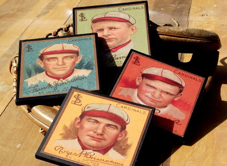 Vintage St. Louis Cardinals Baseball Card Coaster Set Fathers Day Man Cave Sports Decor. $16.00, via Etsy.  @imatallented1