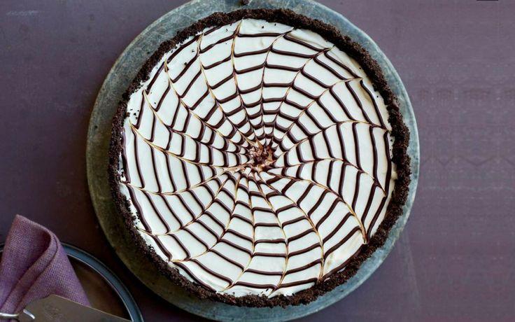 Martha Stewart's No-Bake Spiderweb Cheesecake #31daysofhalloween