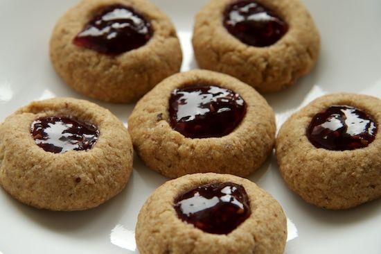Whole Wheat Raspberry Almond Thumbprint Cookies Recipe