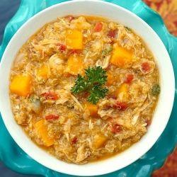 Hearty Chicken Stew With Butternut Squash + Quinoa
