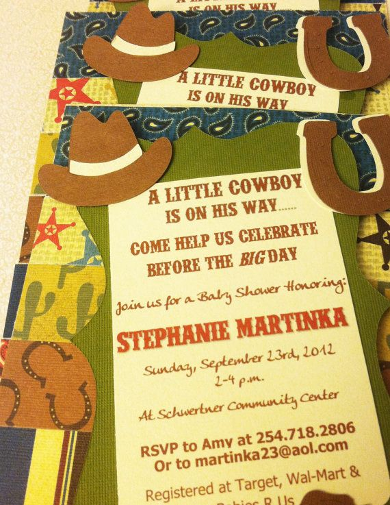 cowboy or cowgirl western baby shower invitations for buckaroo baby s