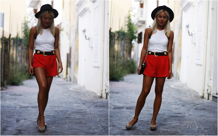 red shorts // Angelica Blick