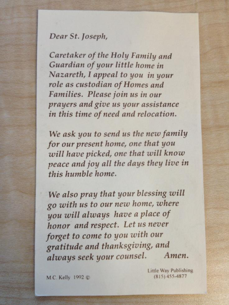 st joseph prayer we use for real estate faith pinterest. Black Bedroom Furniture Sets. Home Design Ideas