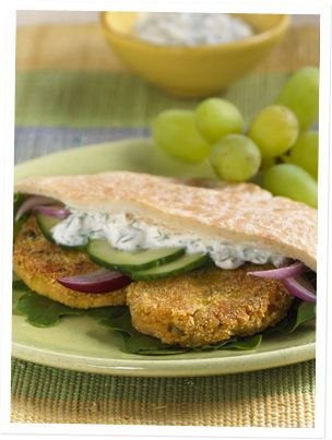 Gimme Lean Sausage/Chick Pea Fritters with Dill Sauce