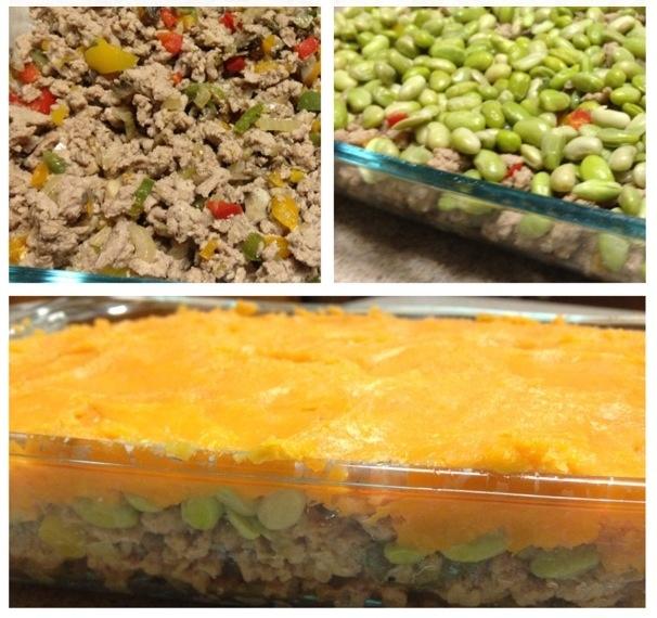 """Healthy protein rich """"Shepard's Pie""""!!! Ground turkey w/ a rain..."""