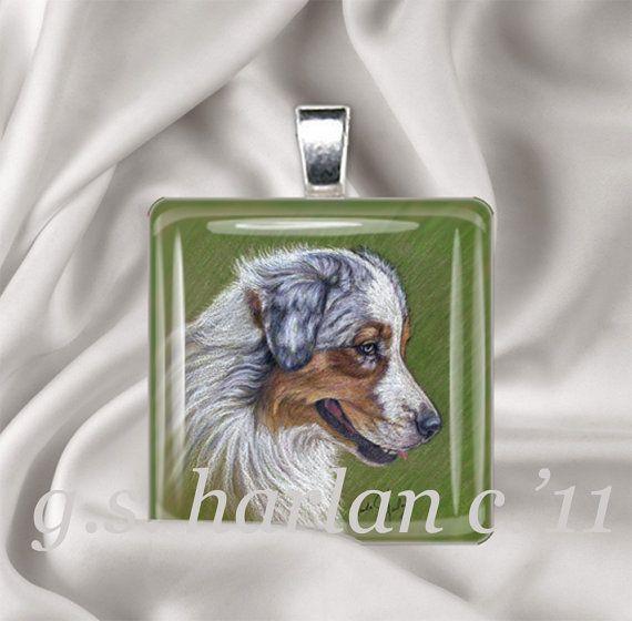 Australian shepherd dog drawing on a glass pendant