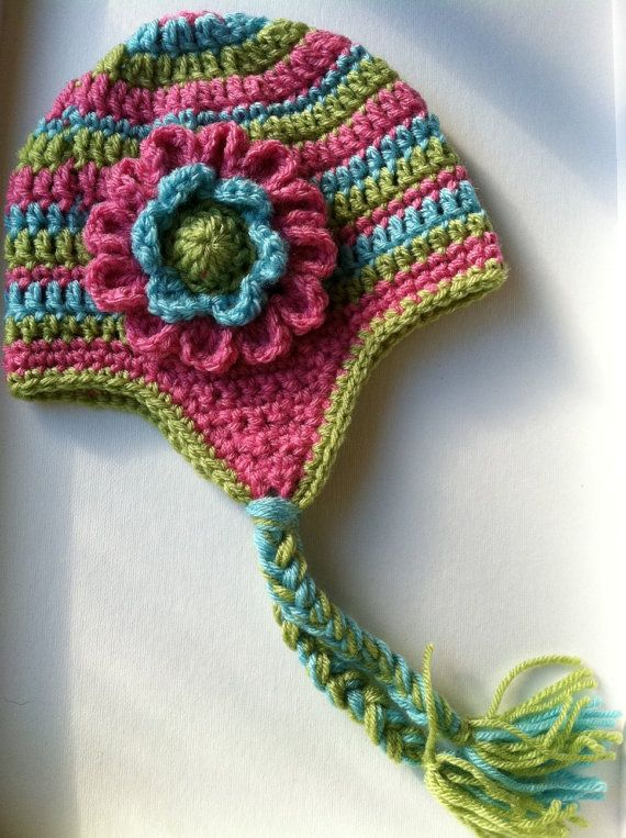 Crochet Flower Pattern For Hat : Crochet Hat with Flower and Earflaps Pink by ...