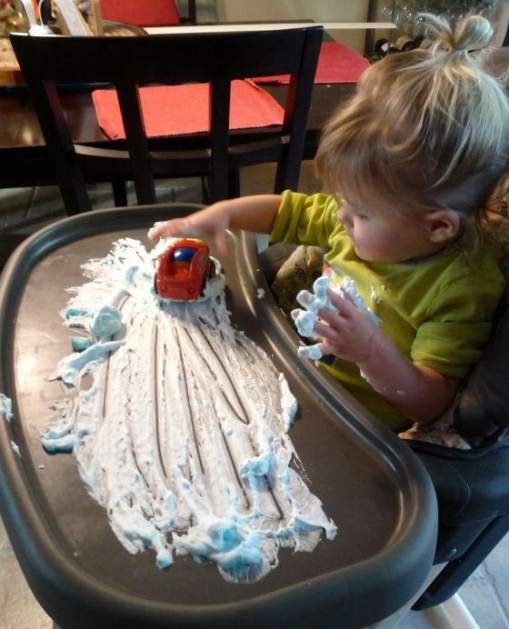 Shaving Cream Fun - my toddler LOVES to drive his cars through shaving cream!