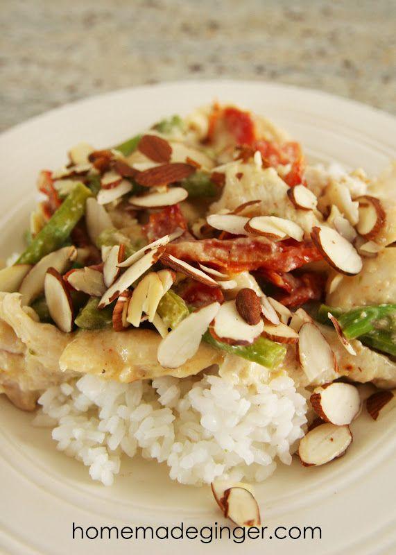 homemade ginger: Recipe: Almond Asparagus Chicken