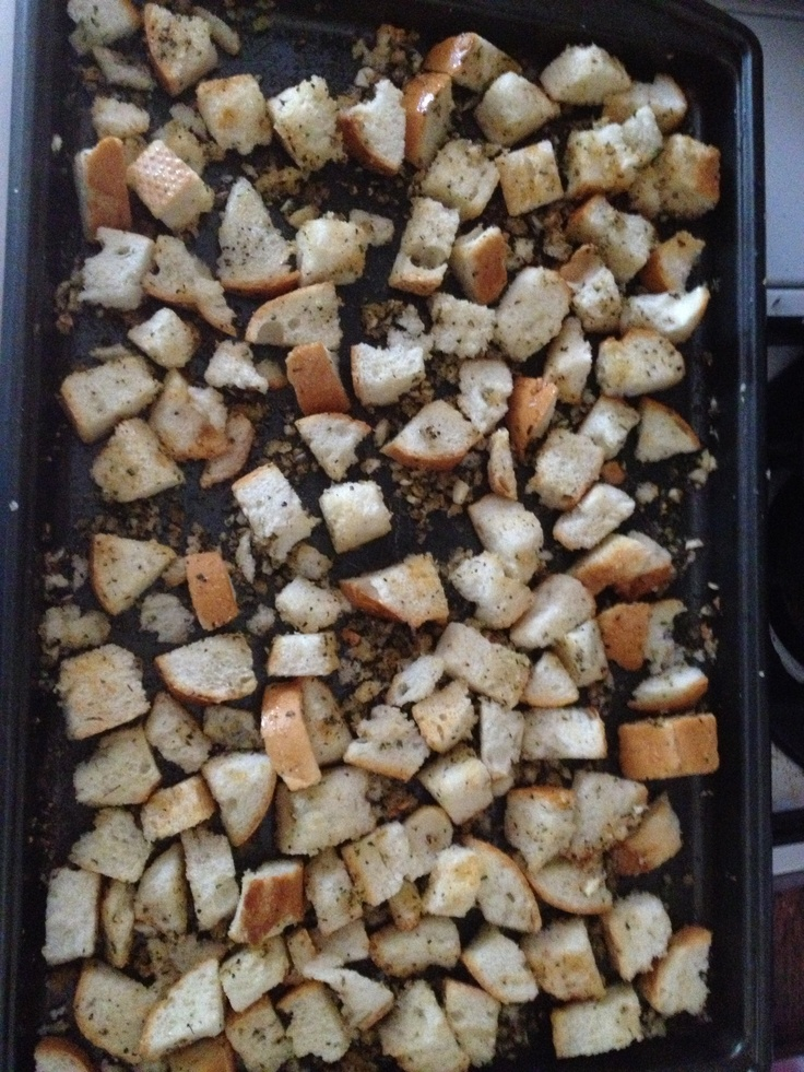 Homemade Rosemary and Garlic Croutons ~ Cut stale bread into crouton ...