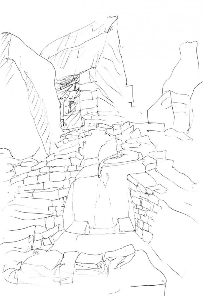 Sketch of Macchu Picchu by Alvaro Siza