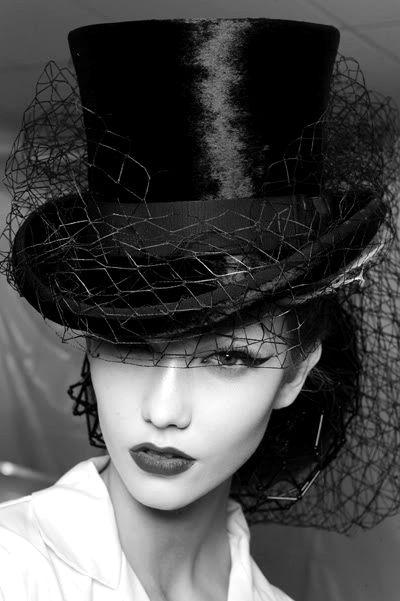 Silk hat and net veil